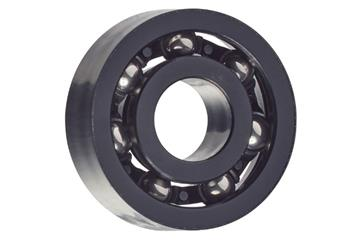 xiros® radial ball bearings, xirodur S180, stainless steel balls, cage made of PA, mm
