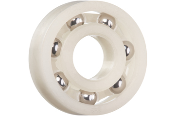 xiros® radial ball bearings, xirodur C160, stainless steel balls, cage made of PP, mm