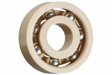 xiros® radial ball bearings, xirodur A500, stainless steel balls, cage made of PEEK, mm