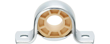 Pillow block and fixed flange bearings with low-cost metal housing